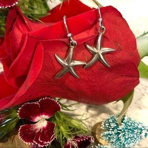 Vintage Sterling Silver Star Fish Hook Earrings